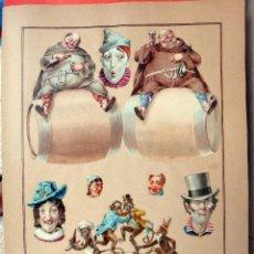 Coleccionismo Cromos troquelados antiguos: CROMOS TROQUELADOS, SIGLO XIX, LAMINA TIPO CARTEL, SATIRICOS, BARRILES , ORIGINAL . Lote 104063727