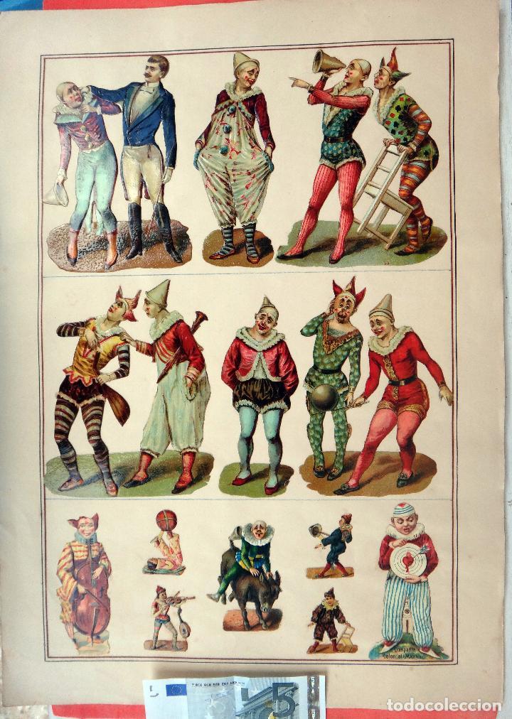 CROMOS TROQUELADOS, SIGLO XIX, LAMINA TIPO CARTEL, PESONAJES CIRCO , ORIGINAL (Coleccionismo - Cromos y Álbumes - Cromos Troquelados)
