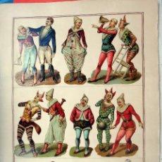 Coleccionismo Cromos troquelados antiguos: CROMOS TROQUELADOS, SIGLO XIX, LAMINA TIPO CARTEL, PESONAJES CIRCO , ORIGINAL . Lote 104063795