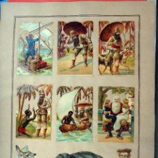 Coleccionismo Cromos troquelados antiguos: CROMOS TROQUELADOS, SIGLO XIX, LAMINA TIPO CARTEL , AVENTURAS AFRICA ELEFANTE , ORIGINAL . Lote 104064471