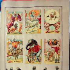 Coleccionismo Cromos troquelados antiguos: CROMOS TROQUELADOS, SIGLO XIX, LAMINA TIPO CARTEL , CIRCO , ORIGINAL . Lote 104064591