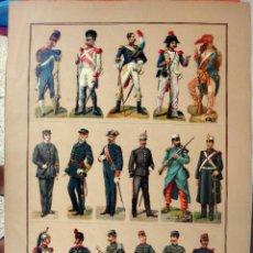 Coleccionismo Cromos troquelados antiguos: CROMOS TROQUELADOS, SIGLO XIX, LAMINA TIPO CARTEL , MILITAR MILITARES , ORIGINAL . Lote 104064775