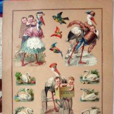 Coleccionismo Cromos troquelados antiguos: CROMOS TROQUELADOS, SIGLO XIX, LAMINA TIPO CARTEL , CISNE CIGUEÑA NIÑOS , ORIGINAL . Lote 104064847