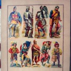 Coleccionismo Cromos troquelados antiguos: CROMOS TROQUELADOS, SIGLO XIX, LAMINA TIPO CARTEL , MILITARES Y PERSONAJES , ORIGINAL . Lote 104065007