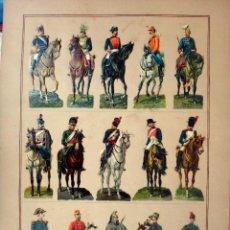 Coleccionismo Cromos troquelados antiguos: CROMOS TROQUELADOS, SIGLO XIX, LAMINA TIPO CARTEL , MILITARES A CABALLO JINETES , ORIGINAL. Lote 104065099