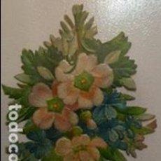 Coleccionismo Cromos troquelados antiguos: ANTIGUO CROMO TROQUELADO DE FLORES SIGLO XIX MEDIDAS 7 CTMS X 5 CTMS . Lote 113978339