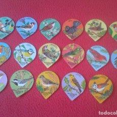 Coleccionismo Cromos troquelados antiguos: LOTE DE 17 CROMOS TAPAS DE KAFFEERAHM CAFÉ CREMA CREME FLORALP PÁJAROS PÁJARO BIRD BIRDS. TAPA. VER . Lote 118254015
