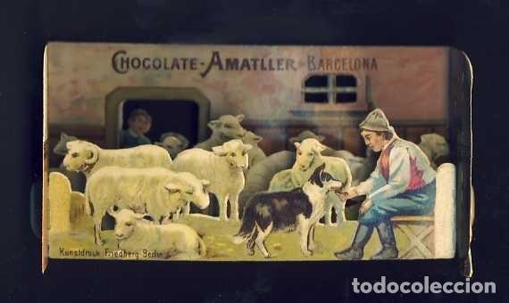 CROMO TROQUELADO DESPLEGABLE DE CHOCOLATES AMATLLER. PASTOR Y OVEJAS. DIORAMA (VER FOTO ADICIONAL) (Coleccionismo - Cromos y Álbumes - Cromos Troquelados)