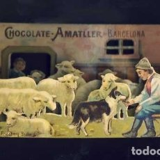 Coleccionismo Cromos troquelados antiguos: CROMO TROQUELADO DESPLEGABLE DE CHOCOLATES AMATLLER. PASTOR Y OVEJAS. DIORAMA (VER FOTO ADICIONAL). Lote 15278613