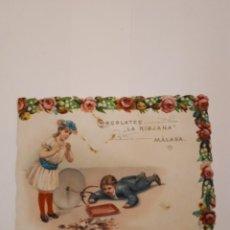 Coleccionismo Cromos troquelados antiguos: CHOCOLATES LA RIOJANA, MALAGA. Lote 186411983