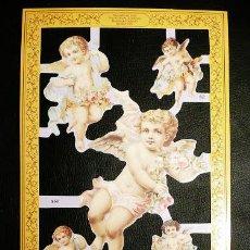 Coleccionismo Cromos troquelados antiguos: RR. LAMINA DE CROMOS TROQUELADOS SERIE ORO MLP - A60 - ANGELES. Lote 122009119