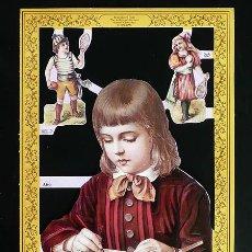 Coleccionismo Cromos troquelados antiguos: RR. LAMINA DE CROMOS TROQUELADOS SERIE ORO MLP - A66 - NIÑO ESTUDIANDO. Lote 122009527