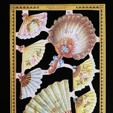 Coleccionismo Cromos troquelados antiguos: RR. LAMINA DE CROMOS TROQUELADOS SERIE ORO MLP - A70 - ABANICOS. Lote 122009731