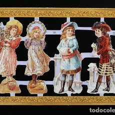 Coleccionismo Cromos troquelados antiguos: RR. LAMINA DE CROMOS TROQUELADOS SERIE ORO MLP - A73 - NIÑAS VICTORIANAS. Lote 122010703
