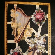 Coleccionismo Cromos troquelados antiguos: RR. LAMINA DE CROMOS TROQUELADOS SERIE ORO MLP - A76 - INSTRUMENTOS MUSICALES. Lote 122010783