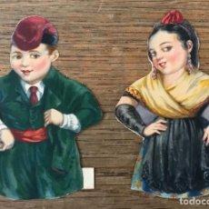 Coleccionismo Cromos troquelados antiguos: 2 CROMOS TROQUELADOS - CATALUÑA - PAREJA TRAJE REGIONAL - MOVIMIENTO MANUAL - EDICIONES BARSAL. Lote 126736339