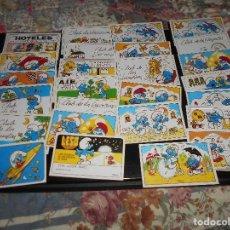 Coleccionismo Cromos troquelados antiguos: LOTE DE 26 CROMOS CROMO TARJETA PITUFOS DEPORTISTAS BOXEO LOS PITUFOS SMURFS. Lote 127844931
