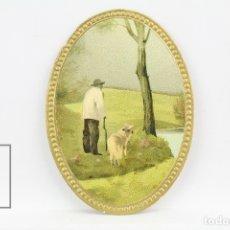 Coleccionismo Cromos troquelados antiguos: ANTIGUO CROMO DE PICAR / TROQUELADO - GALLETAS Y BIZCOCHOS LA GLORIA /PAISAJE CON HOMBRE Y PERRO. Lote 128546076