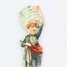 Coleccionismo Cromos troquelados antiguos: ANTIGUO CROMO DE PICAR / TROQUELADO - GALLETAS Y BIZCOCHOS LA GLORIA / NIÑO CON BICICLETA Y BANDERA. Lote 128546419