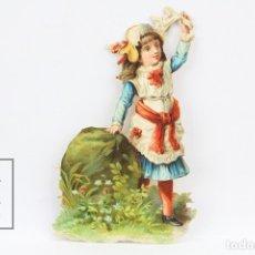 Coleccionismo Cromos troquelados antiguos: ANTIGUO CROMO DE PICAR / TROQUELADO - CHOCOLATE / NIÑA CON PAÑUELO - SIN PUBLICIDAD. Lote 128546488