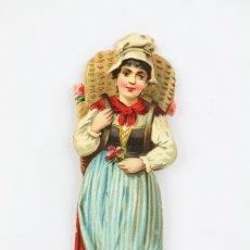 Coleccionismo Cromos troquelados antiguos: ANTIGUO CROMO DE PICAR / TROQUELADO - CHOCOLATE / NIÑA CON CESTA - SIN PUBLICIDAD. Lote 128546615