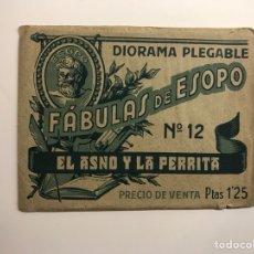 Coleccionismo Cromos troquelados antiguos: DIORAMA PLEGABLE. EL ASNO Y LA PERRITA FÁBULAS DE ESOPO NO.12. Lote 129568067