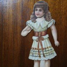 Coleccionismo Cromos troquelados antiguos: CROMO TROQUELADO MUÑECA CHOCOLATES JUNCOSA SERIE III ( MUÑECAS Y VESTIDOS ) 15 CM. SIGLO XIX. Lote 133265586