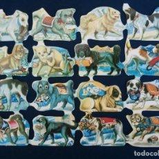 Coleccionismo Cromos troquelados antiguos: LAMINA CROMOS TROQUELADOS ESPAÑOLES FHER-24. PERROS. Lote 245721965