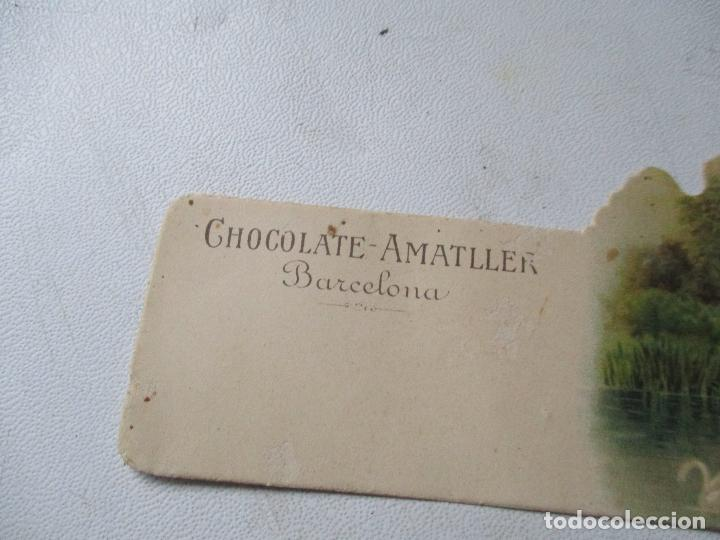 CROMO TROQUELADO DE: CHOCOLATE AMAELLER- BARCELONA ESCENA DE RÍO Y CISNES-5.5 X 11.5 CM. (Coleccionismo - Cromos y Álbumes - Cromos Troquelados)