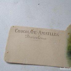 Coleccionismo Cromos troquelados antiguos: CROMO TROQUELADO DE: CHOCOLATE AMAELLER- BARCELONA ESCENA DE RÍO Y CISNES-5.5 X 11.5 CM.. Lote 136290950