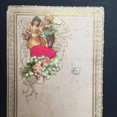 Coleccionismo Cromos troquelados antiguos: ANTIGUO PAPEL DE CARTA PPPP RELIEVE CON CROMO TROQUELADO, DIPTICO, PPIOS 1900, IDEAL COLECCIONISTAS. Lote 147984978