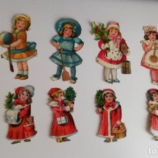Coleccionismo Cromos troquelados antiguos: DOCE ANTIGUOS CROMOS TROQUELADOS DE NIÑAS. 5 A 6 CMS.. Lote 150806378