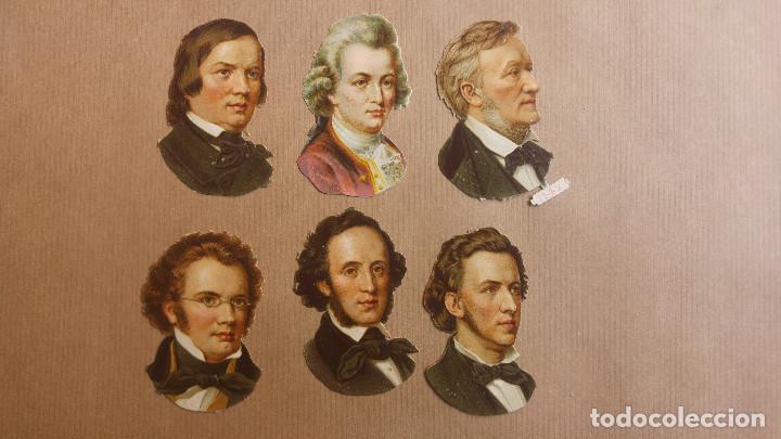 6 CROMOS TROQUELADOS MUSICOS WAGNER, CHOPIN HAYDYN SHUBERT MENDELSSOHN, SIGLO XIX (Coleccionismo - Cromos y Álbumes - Cromos Troquelados)