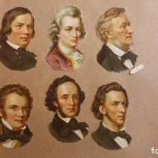 Coleccionismo Cromos troquelados antiguos: 6 CROMOS TROQUELADOS MUSICOS WAGNER, CHOPIN HAYDYN SHUBERT MENDELSSOHN, SIGLO XIX . Lote 152182122