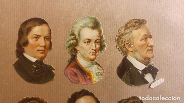Coleccionismo Cromos troquelados antiguos: 6 CROMOS TROQUELADOS MUSICOS WAGNER, CHOPIN HAYDYN SHUBERT MENDELSSOHN, SIGLO XIX - Foto 2 - 152182122