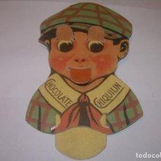 Coleccionismo Cromos troquelados antiguos: ANTIGUA PUBLICIDAD DE CARTON....CHOCOLATE CHIQUILIN...CON MOVIENTO EN LOS OJOS Y BOCA.. Lote 153129546