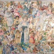 Coleccionismo Cromos troquelados antiguos: ANTIGUO CUADRO HECHO CON MUCHOS CROMOS TROQUELADOS CON MARCO. Lote 155313114