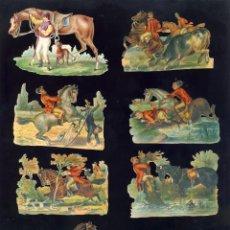 Coleccionismo Cromos troquelados antiguos: LOTE DE 8 CROMOS TROQUELADOS ANTIGUOS DE CABALLOS Y JINETES. TAMAÑO DEL PRIMER CROMO 9 X 6 CMS. Lote 156916902