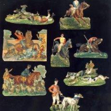 Coleccionismo Cromos troquelados antiguos: LOTE DE 8 CROMOS TROQUELADOS ANTIGUOS DE CABALLOS Y JINETES.TAMAÑO DEL PRIMER CROMO 9,5 X 3 CMS. Lote 156917390