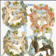 Coleccionismo Cromos troquelados antiguos: GIN. LÁMINA DE CROMOS TROQUELADOS MLP 1757 - PALOMAS Y GOLONDRINAS. Lote 180251471