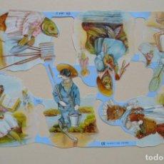 Coleccionismo Cromos troquelados antiguos: GIN. LÁMINA DE CROMOS TROQUELADOS MLP 1759 - ANIMALES DISFRUTANDO DE UN DÍA DE PLAYA. Lote 164786994