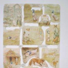 Coleccionismo Cromos troquelados antiguos: GIN. LÁMINA DE CROMOS TROQUELADOS MLP 1782 - BEATRIX POTTER - LA OCA CARLOTA. Lote 175903155