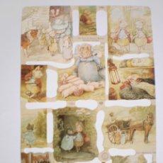 Coleccionismo Cromos troquelados antiguos: GIN. LÁMINA DE CROMOS TROQUELADOS MLP 1784 - BEATRIX POTTER - EL CERDITO AMABLE. Lote 205009760