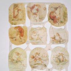 Coleccionismo Cromos troquelados antiguos: GIN. LÁMINA DE CROMOS TROQUELADOS MLP 1788 - BEATRIX POTTER - EL SEÑOR JEREMÍAS PECES. Lote 164892850