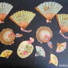 Coleccionismo Cromos troquelados antiguos: LOTE DE 12 CROMOS TROQUELADOS DE ABANICOS , VER FOTOS. Lote 165441606