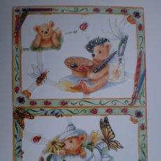 Coleccionismo Cromos troquelados antiguos: GIN. LÁMINA DE CROMOS TROQUELADOS MLP 1919 - OSITO PINTOR Y OSITO EN TETERA. Lote 245504610