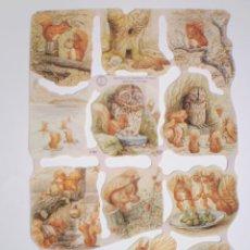 Coleccionismo Cromos troquelados antiguos: GIN. LÁMINA DE CROMOS TROQUELADOS MLP 1785 - BEATRIX POTTER - LA ARDILLA NOGALINA. Lote 166663305