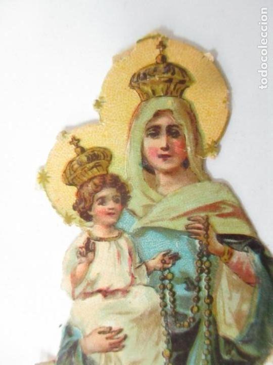 Coleccionismo Cromos troquelados antiguos: Cromo de la Virgen - Cromos Chocolate Amatller, Barcelona - Principios S. XX - Foto 2 - 166746026