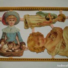 Coleccionismo Cromos troquelados antiguos: GIN. LÁMINA DE CROMOS TROQUELADOS SCRAPBOOK SERIE ORO MLP A124 - NIÑAS Y GATOS. Lote 196457621