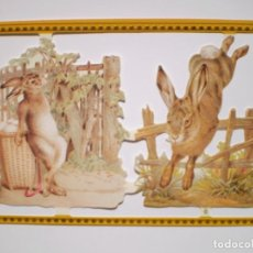 Coleccionismo Cromos troquelados antiguos: GIN. LÁMINA DE CROMOS TROQUELADOS SCRAPBOOK SERIE ORO MLP A145 - LIEBRE Y CONEJO. Lote 244938235